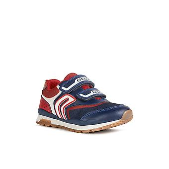 Geox Kids J Pavel A Touch Fastening Trainer Navy/Red