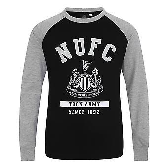 Newcastle United FC Official Football Gift Kids Crest Long Sleeve Raglan T-Shirt