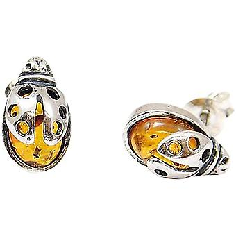 The Olivia Collection Sterling Silver Ladybird Amber Stud Earrings