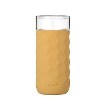 CREADYS Honeycomb Glass with Silicone Sleeve 380ml in Khaki