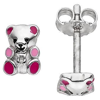 Children earrings Teddy Teddy bear 925 sterling silver pink children's earrings