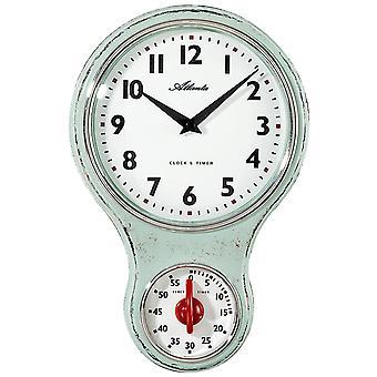 Atlanta 6124/6 Küchenuhr Wanduhr Küche Quarz analog grün Kurzzeitmesser Timer