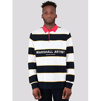 Marshall Artist Hoop Rugby Polo Shirt  - Navy/White