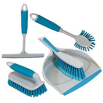 Charles Bentley & apos;Brights' Pakiet kuchenny Dustpan & Brush Mycie niebieski