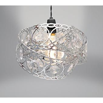 Country Club Metal Light Shade, Silver Gem Wrap