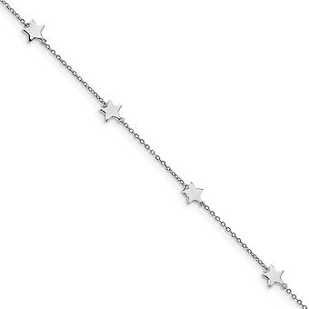 925 Sterling Silver Rhodium plated Stationed Star With 2inch Ext. Anklet 8.5 Inch Jewelry Gifts for Women