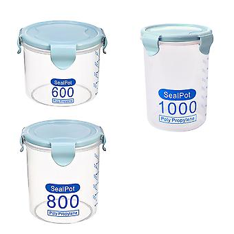 3 Sealed cans, round transparent plastic sealed easy-lock cans with scales, food and grain storage containers, kitchen storage rooms