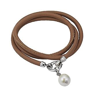 Adriana L1-nude - Women's Parure - Sterling Silver 925 and Leather - 550 mm