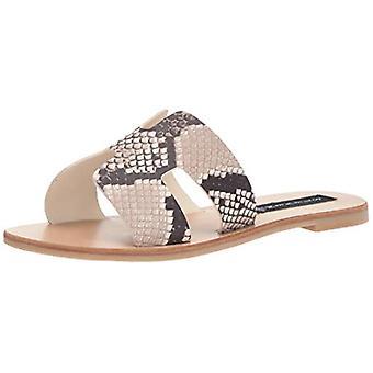 STEVEN by Steve Madden Women's Greece Sandal, White/Black, 9.5 M US