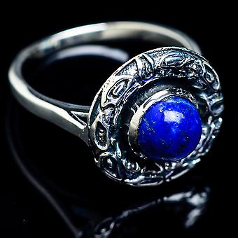 Lapis Lazuli Ring Size 8.25 (925 Sterling Silver)  - Handmade Boho Vintage Jewelry RING5038