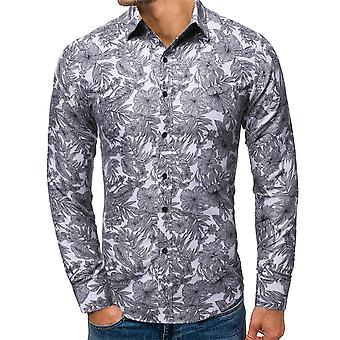 Allthemen Men-apos;s Printed Lapel Color-Fast Long-Sleeved Shirt