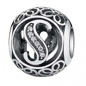 Sterling Silver Charm With Zirconia Stones Letter S - 5194