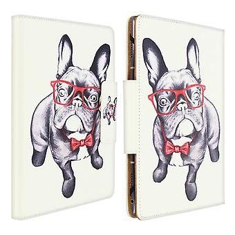 """Folio Cover with Card Slots & Stand for 7 / 8"""" Tablet- Bulldog Design- White"""