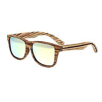 Earth Wood Solana Polarized Sunglasses - Zebrawood/Yellow-Green