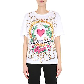 Boutique Moschino 120561405001 Women's White Cotton T-shirt