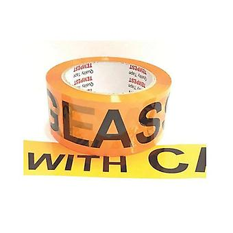 Glass Dispatch Tape Orange Black 48Mmx75Mm Roll Care Étiquette d'emballage