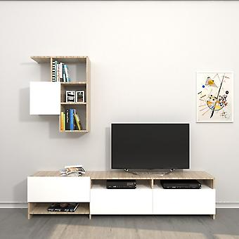 Mobile TV Port Draco Color White, Sonoma in Melaminic Chip 180x28.4x40 cm,57x22x75 cm