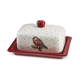 Cooksmart Red Red Robin Butter Dish