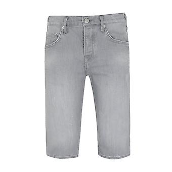 True Religion Rocco Relaxed SKinny Fit Bermuda Destroyed Grey Denim Shorts