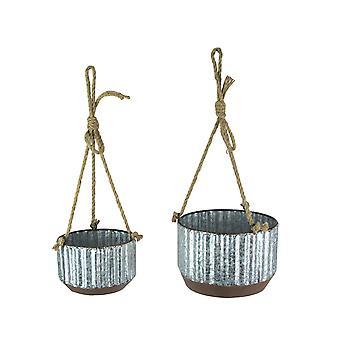 Bondgård Style Korrugerad galvaniserad metall och rep hängande planters Set om 2