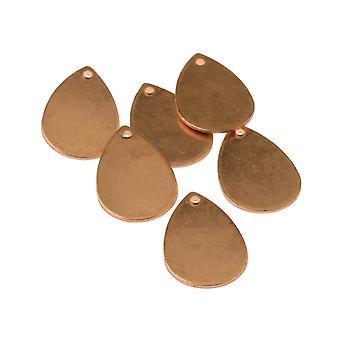 Kupfer Blanks kleine Teardrop Pack von 6 21mm X 13mm
