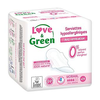 Love & Green Serviettes normal hypoallergà © niques x14 14 units