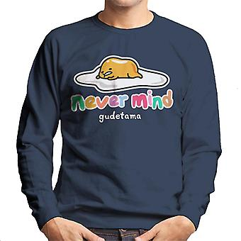 Gudetama Never Mind Colourful Text Men's Sweatshirt
