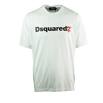 Dsquared2 Drop Logo Slouch Fit Hvid T-shirt