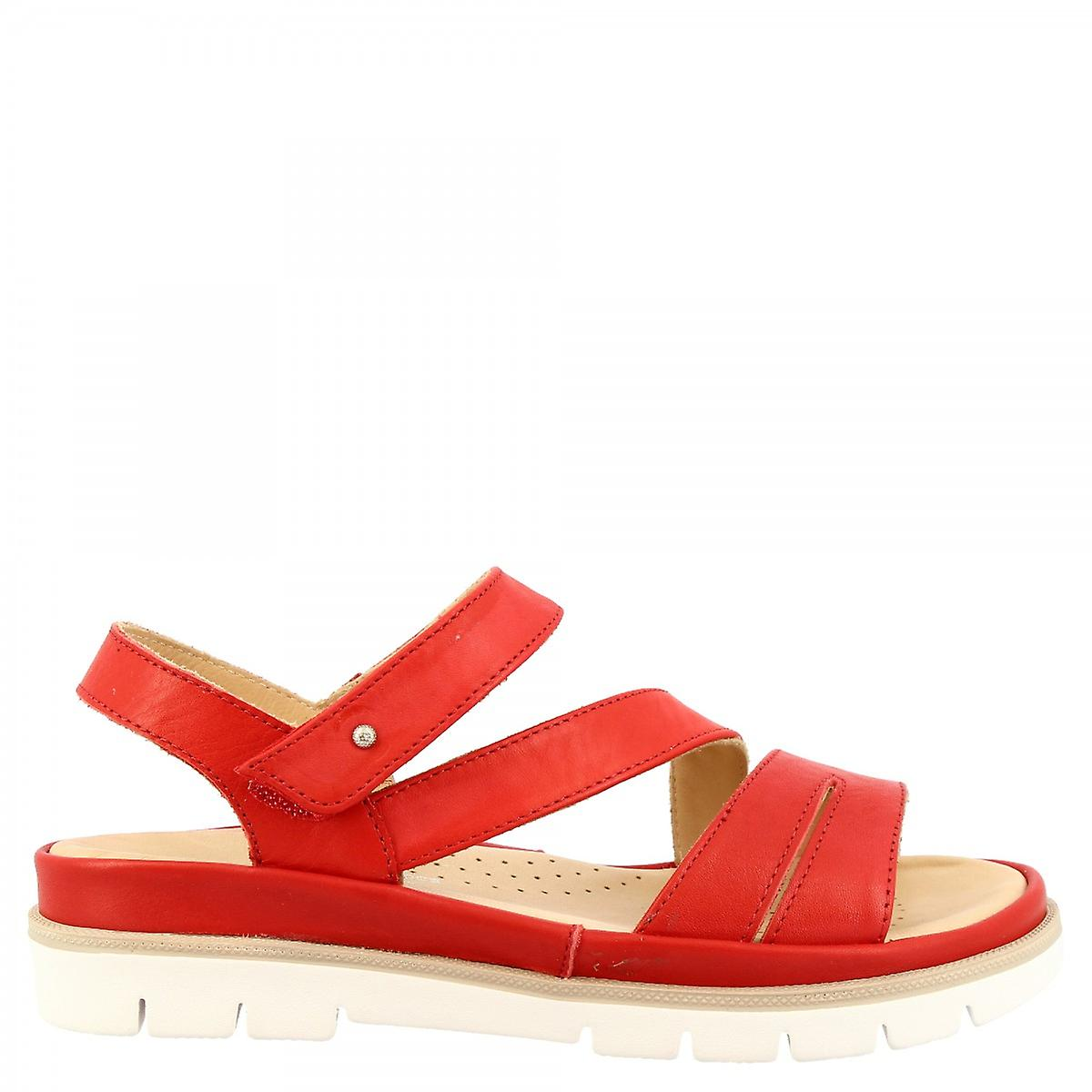 Leonardo Shoes Women's handmade comfortable flat sandals in red calf leather with velcro closure
