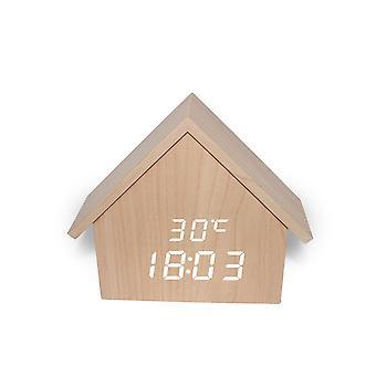 Hs-l led houten wekker stem-geactiveerde elektronische digitale display klokken huis vorm desktop decoratie