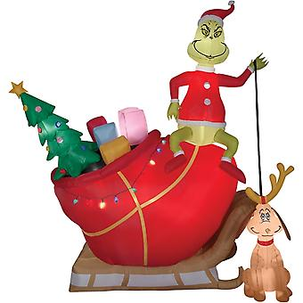 Airblown Grinch Max In Sleigh Christmas Decorations