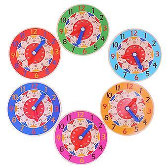 צעצועי שעון מעץ מונטסורי צבעוניים - שעה, דקה, קוגניציה שנייה מוקדם