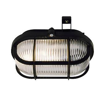 1 Light Outdoor Bulkhead Wall Lamp Black IP44, E27