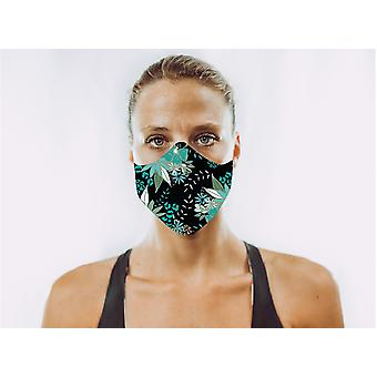 Non-Medical Face Mask | Black Flowers - M ( fits most teenagers, adults 165-180 cm )