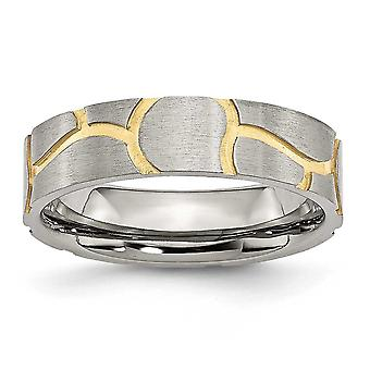 Stainless Steel Satin and Grooved Gold Flashed Brushed Engravable Yellow IP plated Ladies 6mm Band Ring  Jewelry Gifts f