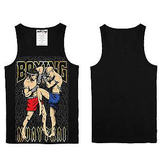 Vest Top Muay Thai Thai Boxing MMA Sport Wear Unisex - (Black)