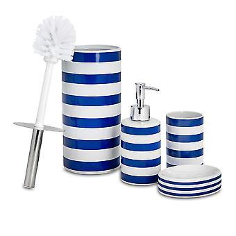4-delige badkamer accessoires set - zeep dispenser, schotel, tandenborstel houder, toilet borstel - Navy Stripe