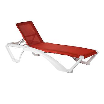 Resol Marina Adjustable Plastic Outdoor Garden Pool Reclining Sun Lounger - White / Red - Pack of 2