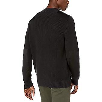 Goodthreads Men's Soft Cotton Military Sweater, Solid Black Medium