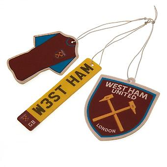 West Ham United FC Air Fresheners (Pack Of 3)