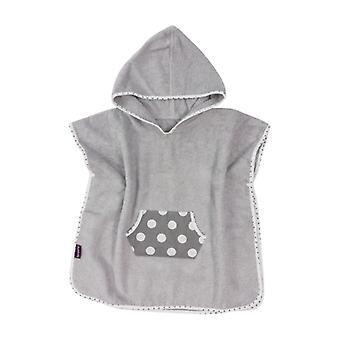 Puckdaddy Bath Poncho Smilla 57x80cm Baby Poncho com capuz com padrão de pontos em cinza