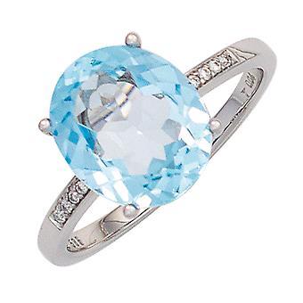 Naisten sormus 585 kulta valkoinen kulta 1 sininen topas vaaleansininen 8 timantit loistava