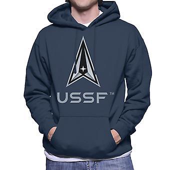 U.S. Space Force Logo USSF Lighter Text Men's Hooded Sweatshirt