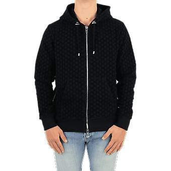 Balmain Zipped Mongram Flock Fleece Ho Black UH03643I378EAP Top
