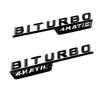 Gloss Black Mercedes Benz Biturbo 4Matic Rear Boot Badge Emblem