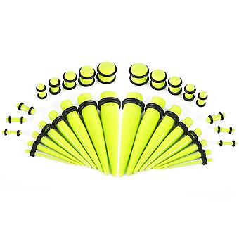 36 Pieces uv glow in the dark ear stretching kit glow tapers with plugs 14g-00g