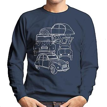 Citro?n 2CV White Angle Montage Men's Sweatshirt