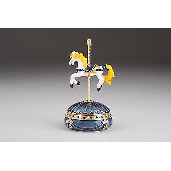 Blue Wind Up Carousel With Royal White Horse
