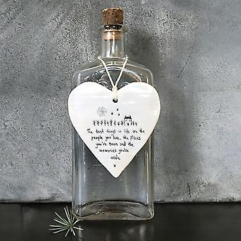 East of India Hanging Porcelain Heart    'Best things in life' Sentimental Gift