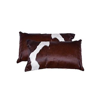 """12"""" x 20"""" x 5"""" Salt And Pepper, Chocolate And White, Cowhide - Pillow 2-Pack"""